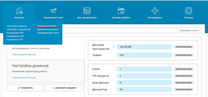 Главная панель админки DirectAdmin