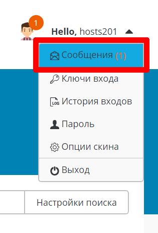 Системные сообщения в панели DirectAdmin