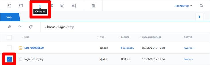 Загрузка бэкапа базы данных nic.ru